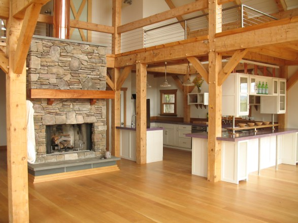 Painted Cabinetry in a Timber Frame Home
