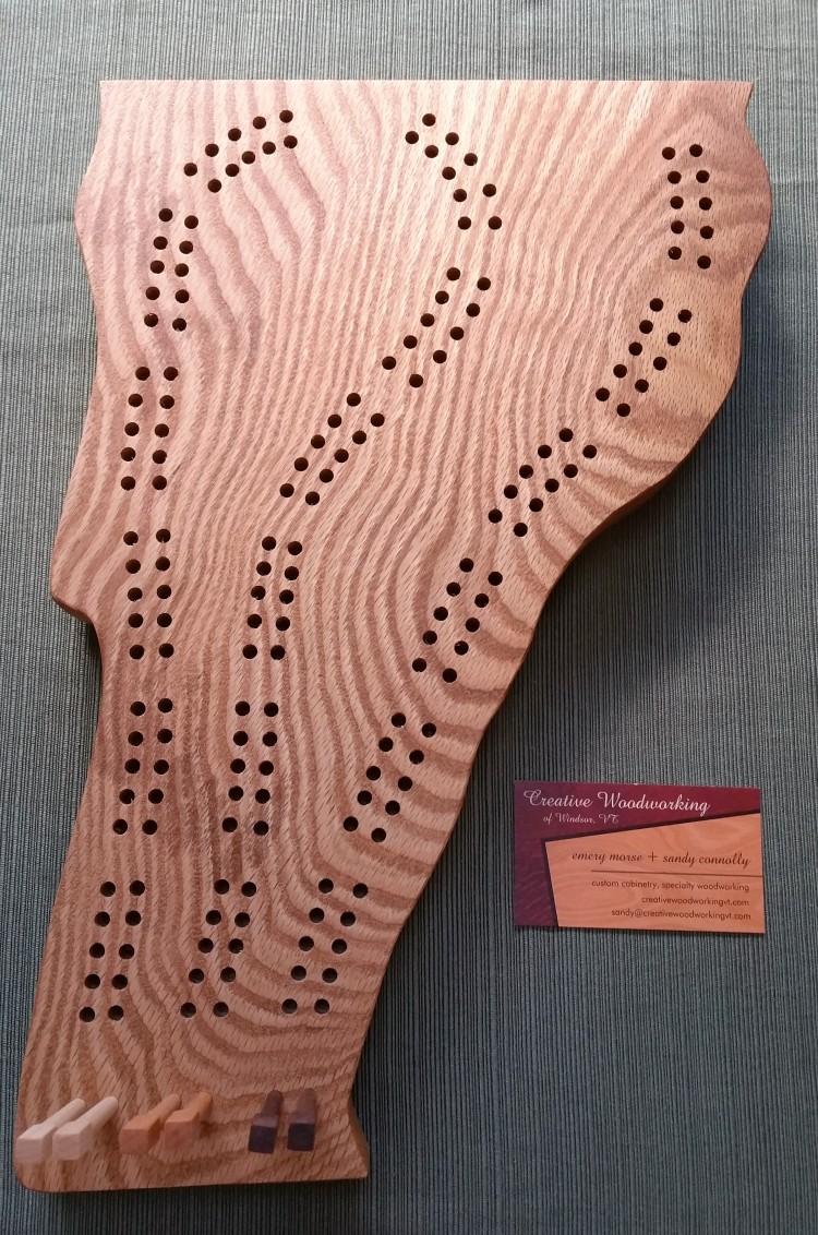 Oak Burl Cribbage Board 3rd Hand (2)