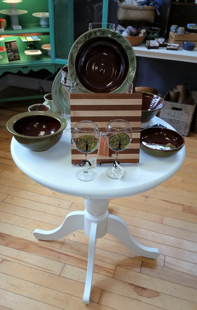 Pottery, Hand Painted Glassware and Wooden Cutting Boards