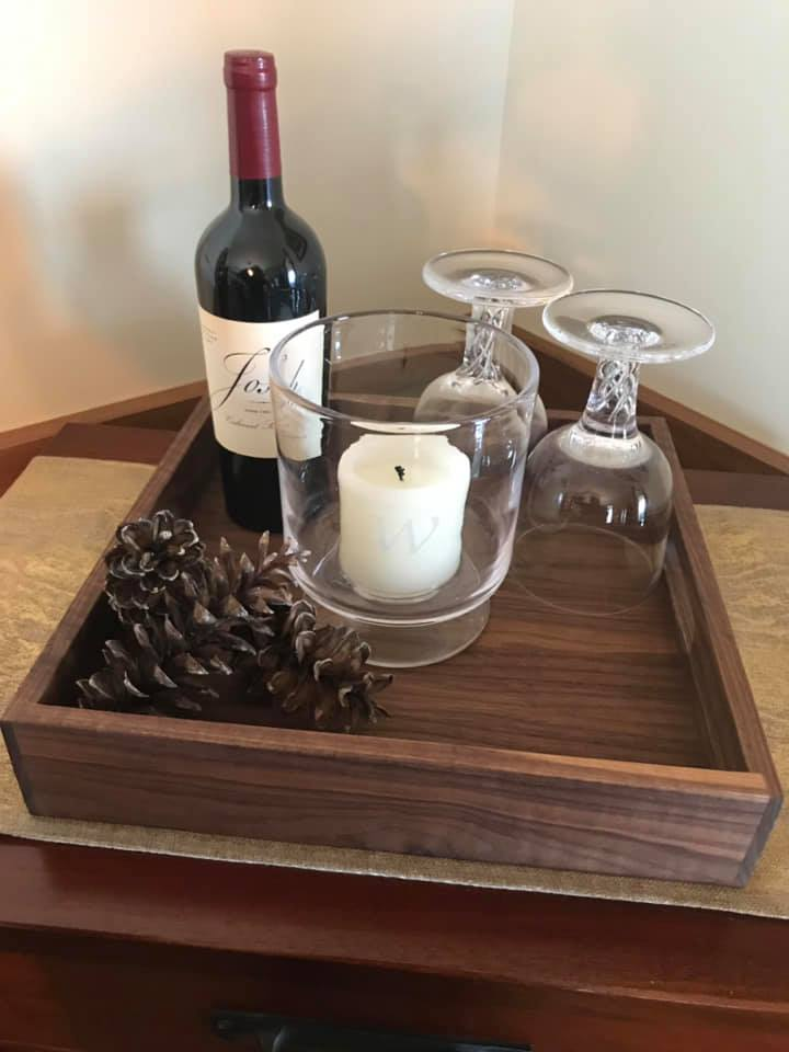 simply square serving tray walnut